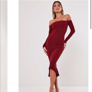 NWT Misguided Red Bardot Fishtail Bodycon Dress